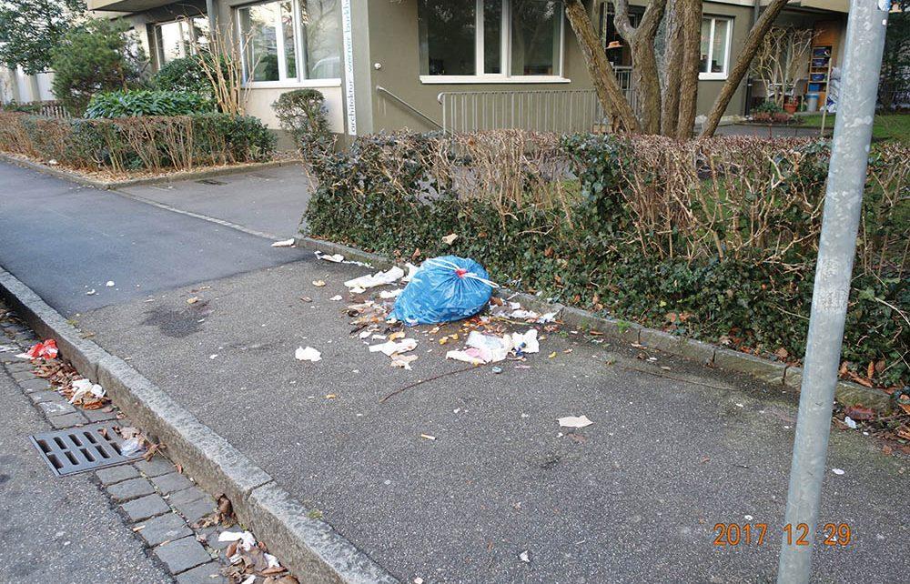 Alles andere als ein appetitlicher Anblick bietet sich, wenn Kehrichtsäcke zu früh vor dem Haus deponiert werden, denn dann werden sie von nach Futter suchenden Tieren aufgerissen.