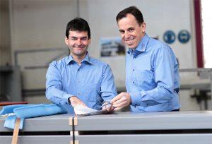 Die Inhaber der Liestaler Traditionsfirma Wahl Glas- und Metallbau AG, von links: Samuel Strub (Geschäftsführer) und Patrik Schmid (Mitglied der Geschäftsleitung).